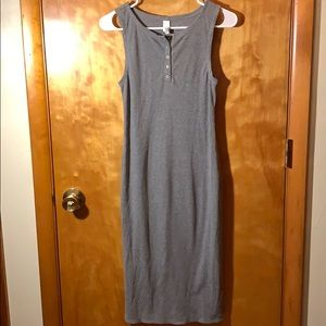 Gray tank top style dress with 5 buttons